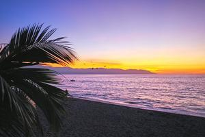 Los Muertos Beach Sunset, Puerto Vallarta, Mexico by George Oze