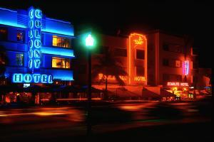 Neon Glow, Ocean Boulevard , Miami Beach by George Oze