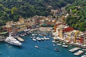 Portofino Harbor From Above, Liguria, Italy by George Oze