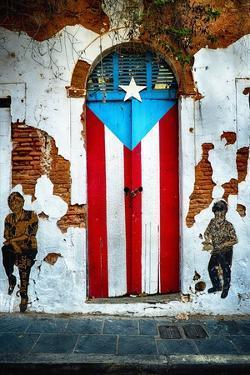 Puerto Rican Flag Door by George Oze