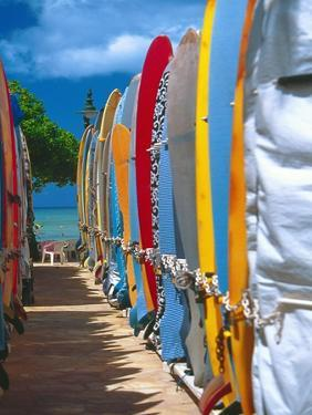 Row of Colorful Surfboards, Waikiki Beach by George Oze