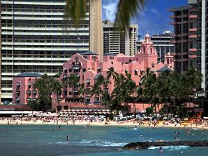 "Royal Hawaiian or ""Pink Palace"" Hotel, Waikiki Beach by George Oze"