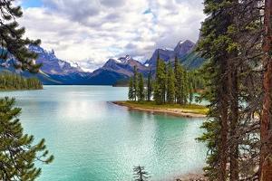 Spirit Island on Maligne Lake, Alberta, Canada by George Oze