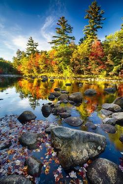 Swift River Autumn Reflections, New Hampshire by George Oze