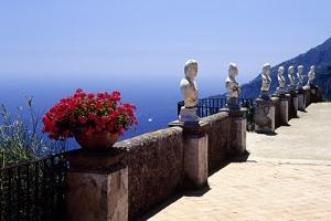 Terrace with Statues and Amalfi Coast View by George Oze