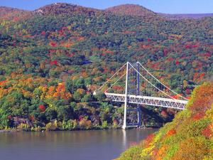 The Bear Mountain Bridge with Autumn Foliage by George Oze
