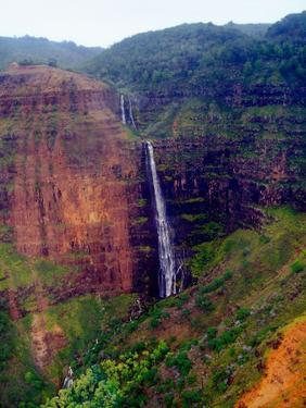 Water Falls of Mt.Waialeale, Kauai, Hawaii by George Oze