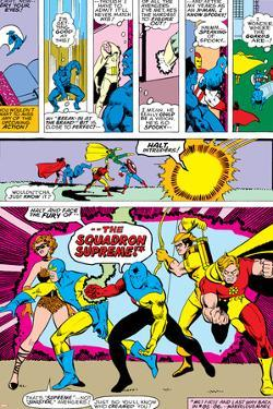 Avengers No.141 Group: Dr. Spectrum, Whizzer, Hyperion, Golden Archer and Squadron Supreme by George Perez