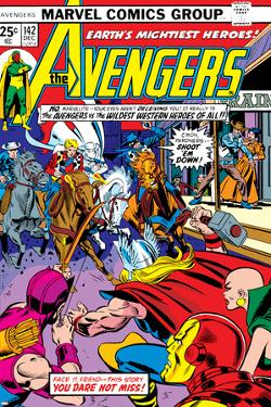 Avengers No.142 Cover: Thor, Hawkeye, Iron Man, Rawhide Kid, Kid Colt and Avengers by George Perez