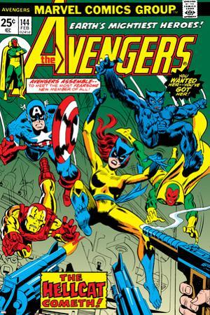 Avengers No.144 Cover: Hellcat, Captain America, Iron Man, Beast, Vision and Avengers Charging by George Perez