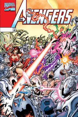 Avengers No.20 Cover: Ultron, Scarlet Witch, Wonder Man, Vision, Wasp and Avengers by George Perez