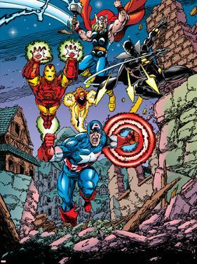Avengers No.21 Cover: Captain America, Thor, Iron Man, Black Panther and Avengers by George Perez