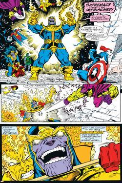 Infinity Gauntlet No.4 Group: Thanos, Captain America and Drax The Destroyer by George Perez