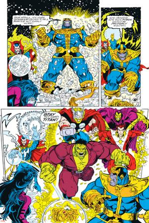 Infinity Gauntlet No.6 Group: Thanos, Hulk, Thor and Dr. Strange by George Perez