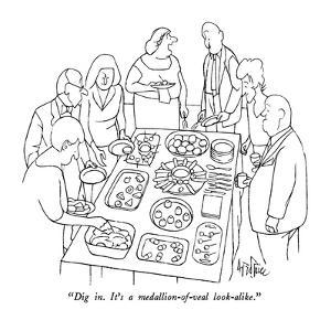 """""""Dig in.  It's a medallion-of-veal look-alike."""" - New Yorker Cartoon by George Price"""
