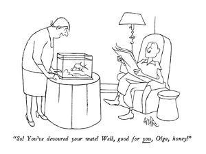 """""""So!  You've devoured your mate!  Well, good for you, Olga, honey!"""" - New Yorker Cartoon by George Price"""