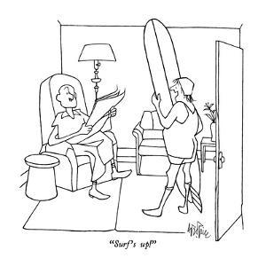 """""""Surf's up!"""" - New Yorker Cartoon by George Price"""