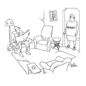 """Wife stands in doorway of den staring angrily at husband who is reading th…"""" - New Yorker Cartoon by George Price"""