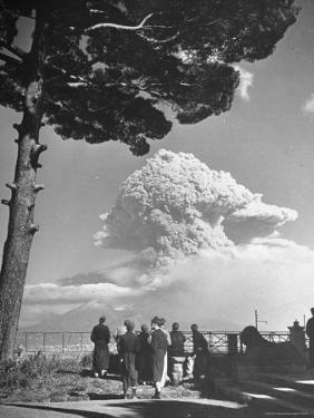 Spectators Viewing Eruption of Volcano Mount Vesuvius by George Rodger
