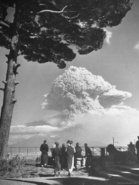 Spectators Viewing Eruption of Volcano Mount Vesuvius by George Rodger