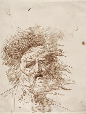 King Lear in the Storm (Pen and Bistre Ink on Paper) by George Romney