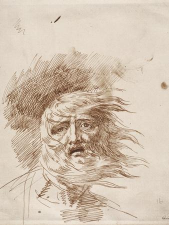 King Lear in the Storm (Pen and Bistre Ink on Paper)