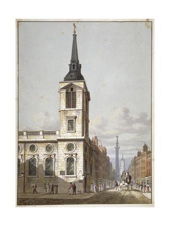 Church of St Benet Gracechurch and Gracechurch Street, City of London, 1811