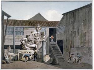 Coade Stone Factory Yard on Narrow Wall Street, Lambeth, London, C1800 by George Shepherd