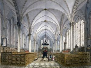 Interior View of Temple Church, London, 1811 by George Shepherd
