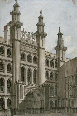South-West View of the Guildhall Front, City of London, 1810 by George Shepherd