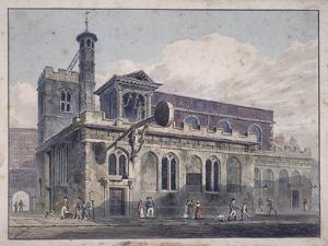 St Dunstan in the West, London, 1811 by George Shepherd
