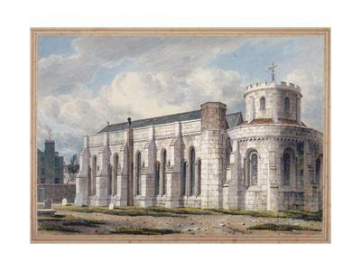 View of Temple Church from across the graveyard, City of London, 1811