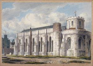 View of Temple Church from across the graveyard, City of London, 1811 by George Shepherd
