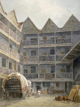 View of the Yard at the Bull and Mouth Inn, St Martin's Le Grand, City of London, 1817 by George Shepherd