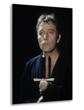"Actor Richard Burton Gripping Hilt of Sword During Scene from ""Hamlet"" on Broadway by George Silk"