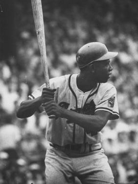 Baseball Player Hank Aaron Waiting for the Pitch by George Silk