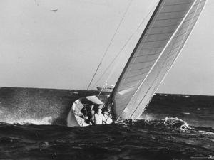 Boat Competing During Americas Cup Race by George Silk