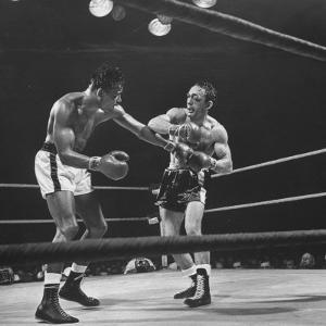 Boxers Ray Robinson and Carmen Basilio Fighting in the Ring by George Silk