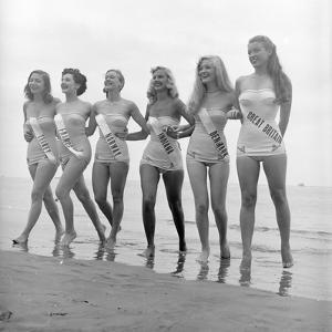 First Miss Universe Contest Contestants Wearing Bathing Suits, Long Beach, CA, 1952 by George Silk
