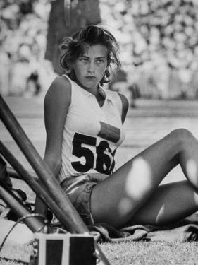 Gunhild Larking, Sweden's Entry for High Jump, Nervously Awaiting Turn to Compete at Olympic Games by George Silk