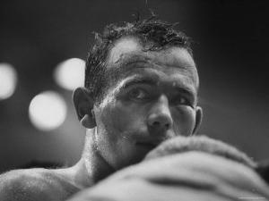 Ingemar Johansson Looking on During Title Bout Against Patterson by George Silk