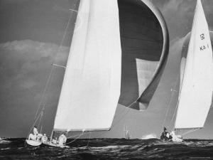 Sailboats Weatherly and Australian Contender Gretel in America's Cup Races by George Silk