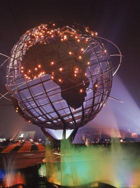 Unisphere Globe Illuminated in Darkness of World's Fair by George Silk