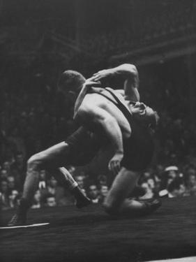 Wrestlers Bartel Bratener of Austria and Vladimir Rossine of Russia Competing at the Olympics by George Silk