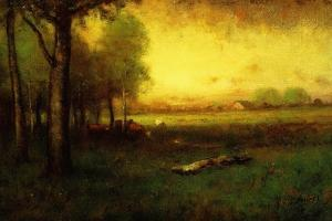 Cows Grazing at Sunset by George Snr. Inness