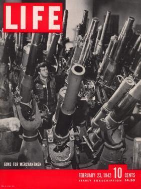 Artillery in the Brooklyn Navy Yard, Guns For Merchantmen, February 23, 1942 by George Strock