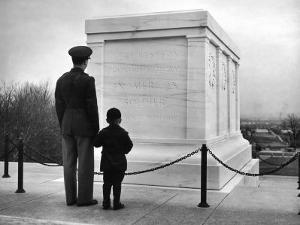 Captain Roger D. Reid Visiting the Unknown Soldier's Tomb with His Son by George Strock