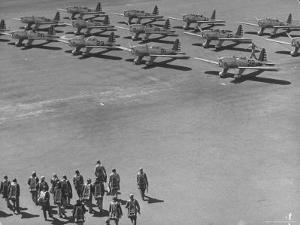Future Us Army Fliers Heading For Their Ryan Training Planes at Air Training Base by George Strock