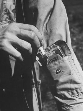 Sleeve Pocket with Pack of Lucky Strike Cigarettes in Fishing Jacket From Mail Order Co. L. L. Bean by George Strock