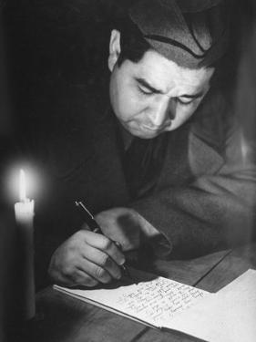 Soldier Writing in a Diary by George Strock